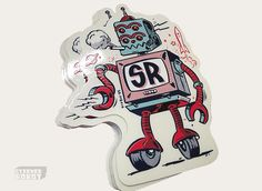 Sticker Robot® Mascot by Morning Breath Inc™ Welcome To My Page, How To Apologize, For Your Eyes Only, Custom Stickers, Perfume, Robot, Neon, Animation, Cartoon