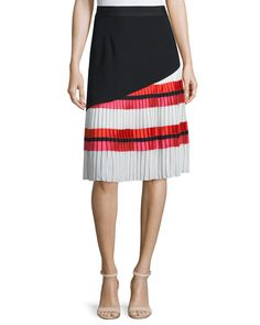 Sachin & Babi Noir One-Shoulder Ruffle-Panel Top & Pleated Striped A-line Combo Skirt