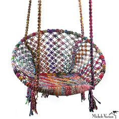 Looking for a house gift? This colorful recycled cotton fiber swing can hang from a tree, on a porch or in your home. It's slight recline makes it a very comfortable chair to lounge in. Michele Varian Shop #giftideas #housegifts