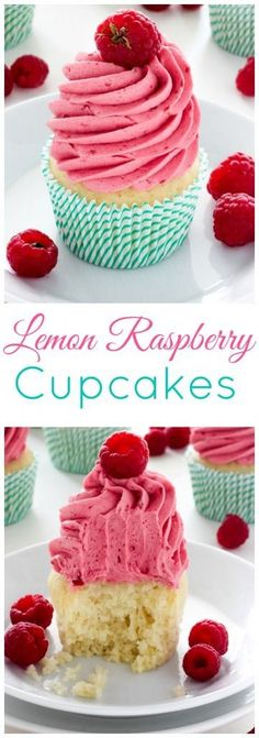 Lemon Cupcakes with Raspberry Buttercream - Youll impress everyone with a batch of these beautiful, delicious cupcakes! (Butter Cookies With Icing) Mini Desserts, Just Desserts, Delicious Desserts, Yummy Food, Lemon Desserts, Lemon Raspberry Cupcakes, Raspberry Frosting, Raspberry Recipes, Yummy Cupcakes