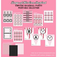 League of Her Own Vintage Girls Baseball Birthday Party Printable Collection