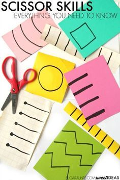 Scissor skills activities for kids. These are developmental ways to practice scissor skills and teaching kids to cut on the lines. Also, all of the skill areas needed in order for kids to accurately cut lines and shapes.