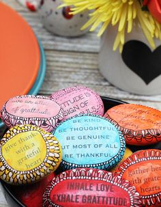Gratitude stones with printed sentiments (by alisa burke)