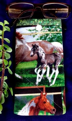 Specs/Sunglass/Phone Soft Padded Cotton Pouch Handmade Snap Fastener HORSELOVERS