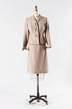 40s oatmeal wool skirt and jacket set