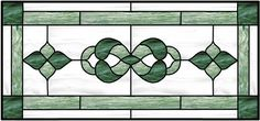 Transom Stained Glass Window With Traditional Leaded Design Outer Border and Corner Accents