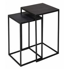 THAROUA 2 black metal side tables