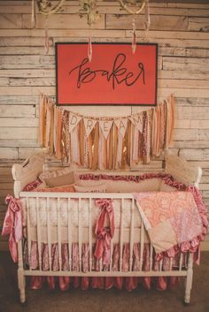 French Vintage Nursery with Reclaimed Wood Wall - love this rustic, shabby chic look!