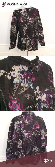 Citron Butterfly Jacket! Sz. 1x. Gorgeous Asian inspired boxy jacket. Mandarin collar, eye/hook closures along front placket. Super classy! NWOT. 82% linen 18% nylon. Smoke free, clean home citron santa monica Jackets & Coats