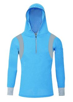 Geval Men's Bamboo Fiber Long Sleeve Fishing Shirts UV Sunscreen Cloth With Hood(Blue,US Tight L/Label 2XL). Polyester,UPF50. Cuff gloves can protect your hands. Breathable mesh fabric. Hood can protect face and neck from sun,suitable for outdoor fishing. PAY ATTENTION :please order US SIZE per size measurement display in following product description(not Amazon size chart),size info in product description is accurate,if you like a bit loose fit,order one size up.