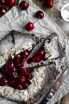 Chocolate Cherry Galette- such a simple dessert for summer and I loved the flavor combo! Chocolate Cherry Galette- such a simple dessert for summer and I loved the flavor combo! Cherry Desserts, Cherry Recipes, Tart Recipes, Summer Desserts, Easy Desserts, Sweet Recipes, Delicious Desserts, Cooking Recipes, Yummy Food