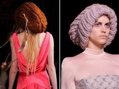 Way out of proportion beanies... PLUS dangling feather pin?! Yes, please.