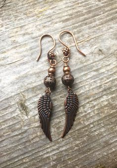 Antiqued Copper Angel Wing Earrings by McHughCreations on Etsy