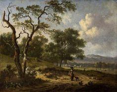 Jan Wijnants - Landschap met een vrouw en hond