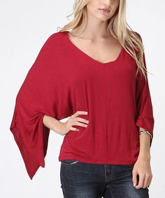 Look at this Burgundy Asymmetrical Dolman Top on #zulily today!