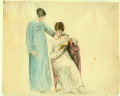 Two Young Ladies (1818) Watercolor painting by Anna Maria Von Phul. Missouri History Museum