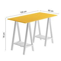 Mesa Cavalete Madesa Tutti Colors 53153J2 Amarelo/Branco SE - Lebes