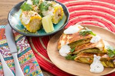 Summer+Squash+&+Squash+Blossom+Quesadillas+with+Mexican-Style+Corn+on+the+Cob.+Visit+https://www.blueapron.com/+to+receive+the+ingredients.
