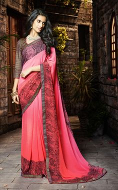 Shaded Pink Georgette Printed Saree With Blouse 65877
