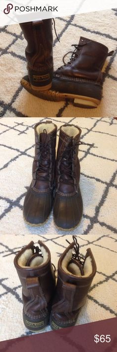L.L.Bean Lined Boots L.L. Bean Duck Boots•Fur Lined•Size Women's 11•GUC•Could use new laces•Heel of boots is slightly worn but isn't noticeable when wearing•Any questions just ask! L.L. Bean Shoes Winter & Rain Boots