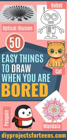 Easy Things to Draw When You Are Bored - Quick and Cool Drawing Lessons for Fun Art - How to Draw Basic Things, Cartoons, Animals, Flowers, People basic animal drawings 50 Easy Things to Draw When You Are Bored Love Drawings, Easy Drawings, Animal Drawings, Baby Pokemon, Bart Simpson, Leaf Drawing, Pastel Drawing, Bassett Hound, Drawing Skills