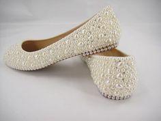 Gorgeous Handmade Flat Wedding Shoes, Heart Shape Pearl Bridal Shoes, Rhinestone Bridal Shoes, Beaded Bridal Shoes,Bridesmaid Shoes,Flat Bridal