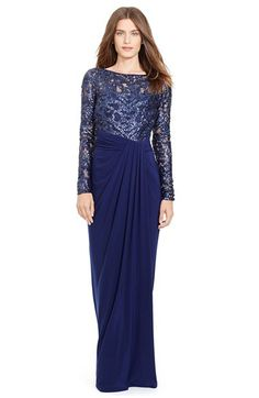 Lauren Ralph Lauren Lauren Ralph Lauren Sequin Lace & Jersey Gown available at #Nordstrom