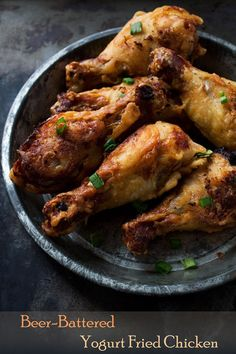 Beer-Battered Yogurt Fried Chicken: Crispy and flavorful chicken drumsticks, soaked in a yogurt-mixture and coated in a crisp beer-batter Beer Recipes, Turkey Recipes, Great Recipes, Cooking Recipes, Favorite Recipes, Recipies, Cooking Tips, Fried Chicken Recipes, Chicken Flavors