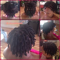 Style: Double-strand Twists Client's Hair Type: 3c Hair Added: NA Products Used: Coiled! by Conscious Coils (Original Refresher Spray), Mixed Chicks leave-in conditioner, and Moroccan Surf Paste Time: 45mins Style Duration: 3-5 days (don't leave in too long or you may get locs. Lol)