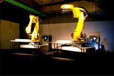 """Installation imaginée et réalisée par Michaël Sellam, dans le cadre de SUGOROKU : """"The Intergalactic Afrofuturist Space Door"""", 2008, ordinateurs, robots industriels R2000, synthétiseurs, application programmée par Alexis Chazard & SEA, musique : Vincent Epplay... Initialement prévue à la MJC de Montreynaud, cette installation sera déplacée dans un lieu d'exposition près de la Cité du Design... nous privant ainsi pour Montreynaud d'un point d'accroche important..."""