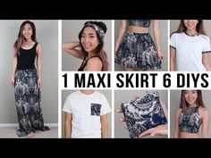 1 jersey maxi skirt 6 diys: headband, crop top, flowy shorts, shirt pocket square, t-shirt trim (update all t-shirt with different fabric trim - great Thrift Store Diy Clothes, Thrift Store Refashion, Diy Clothes Rack, Diy Clothes Refashion, Thrift Stores, Diy Maxi Skirt, Diy Dress, Robe Diy, Jersey Maxi Skirts
