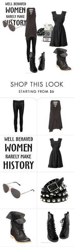 """""""Bez tytułu #75"""" by elamarakastaja ❤ liked on Polyvore featuring sass & bide, BettyB, Forever 21, Rebecca Minkoff, Boutique 9, vintage inspired, liquid leggings, lace up boots, ripped and heels"""