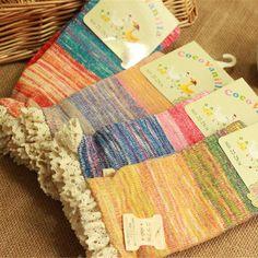 Lace Trim Cotton Knit Socks