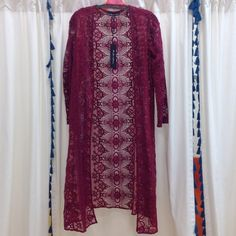 For Love & Lemons kimono Long lace kimono- merlot color we have two available. One size. For Love and Lemons Other