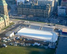 An outdoor skating rink is being built on Parliament Hill at a cost of $5.6 million as part of Canada 150 celebrations. But it will only be open to skaters for three weeks in December. This is a view of the rink from the Peace Tower. Outdoor Skating Rink, Canada 150, Ice Rink, Marina Bay Sands, Celebrations, December, Sad, Tower, Peace
