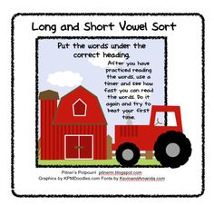 Classroom Freebies: Sorting Long or Short Vowel Sounds