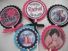 Personalized -ONE Direction - 1D Cupcake Toppers-Sleepover Party- Birthday party- set of 12 - name and age- cupcake qt. $8.95, via Etsy.