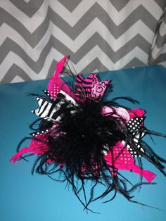 Over The Top OTT hair bow 6 hot pink and zebra!