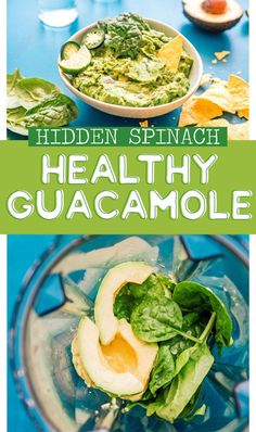 This Hidden Spinach Healthy Guacamole recipe tastes like the homemade guacamole you know and love, but with the addition of vitamin-packed, vibrantly green spinach! Serve it as a chip dip, slather it onto tacos, or use it as a healthy toast topper. Cilantro Recipes, Avocado Recipes, Beef Recipes, Mexican Food Recipes, Vegetarian Recipes, Healthy Recipes, Vegetarian Mexican, Avocado Dip, Diabetic Recipes
