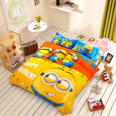 Minion bedding set 100% Cotton & 5pcs Bed set. All materials are guaranteed against fading , Environmental protection health. Free shipping For All orders.