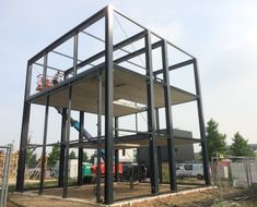 Construction of steel and concrete construction for cube-dwelling - Anton Constructie & Adviesbureau Steel Structure Buildings, Building Structure, Metal Structure, Steel Frame House, Steel House, Steel Building Homes, Building A House, Steel Frame Construction, Construction Business
