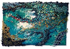 "All the Fish in the Sea by  Amy Genser 26"" x 38"" x 3"" paper and acrylic on canvas sold"