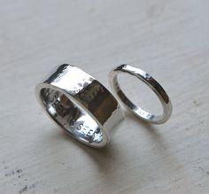 What You Seek Is Seeking You ♡♥ Hammered Silver Wedding Band Set  by bsidemetalworks