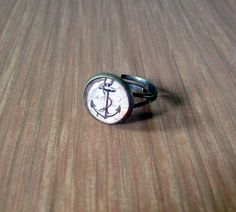 Anchor Ring Nautical Jewelry Sepia Cabochon by TheBonnyBoutique, $12.00
