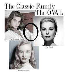 "Original pinner: ""The Platonic Shape for The Classic Family is the Oval. Within The Classic Family there are three Style Archetypes: The Dramatic Classic, The Classic and The Soft Classic."""