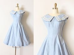 vintage 1950s dress // 50s powder blue gingham sailor theme dress by TrunkofDresses on Etsy https://www.etsy.com/listing/192926207/vintage-1950s-dress-50s-powder-blue