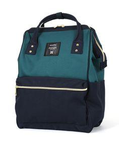 28c12ec85962 AT-B0193a POLYESTER CANVAS BACKPACK RUCKSACK (BOTTLE GREEN NAVY) Rucksack  Backpack