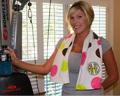 MONOGRAMMED Work Out Gym Towel - Running Exercise - 3 Colors Available on Etsy, $22.00