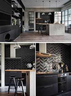 Luxury Kitchens In this modern kitchen, matte and gloss black tiles have been laid in a chevron pattern, while the lower cabinets are also black. Modern Farmhouse Kitchens, Black Kitchens, Luxury Kitchens, Cool Kitchens, White Interior Design, Home Interior, Kitchen Interior, Interior Shop, Interior Livingroom