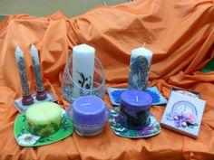 Composición de velas, velones y cajita con vela. Diferentes técnicas: decoupage, tridimensional, servilleta, calca...
